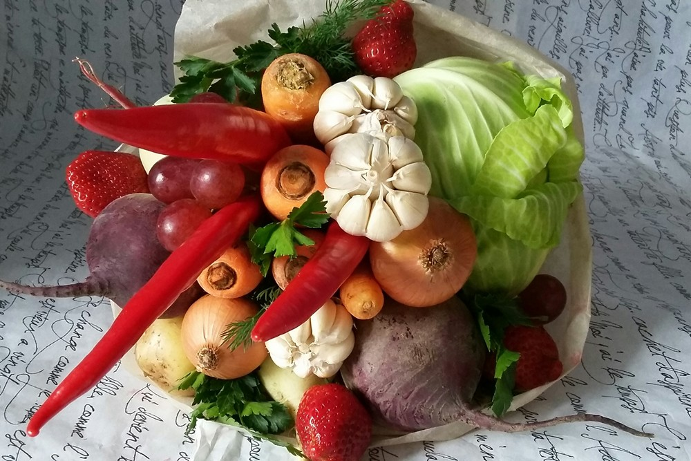 Овощной фруктовый букет своими руками 36